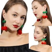 Cherry Pom Pom Ball Drops Earrings Jewelry Women Dangle Earrings Korean Fashion