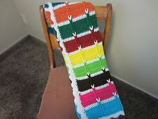 Handmade Cable Crochet Afghan Multi-Colored Throw Blanket 41 x 34 inches