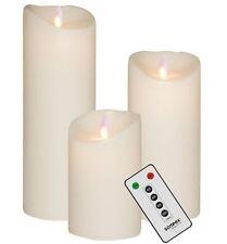 3er SET! Sompex Flame LED Kerzen V14 Weiß 12,5cm, 18cm, 23cm mit Fernbedienung