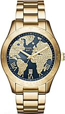 Michael Kors Ladies Layton Blue Crystal Pave Dial Gold-tone Watch  - MK6243
