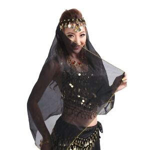 Indian Belly Dance Headpiece Head Scarf Shawl Chiffon Coins Veil Headdress