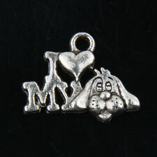 40pcs Tibetan Silver Dog Charms For Jewelry Making