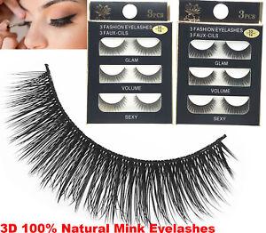 3Pairs 3D Mink False Eyelashes Wispy Cross Long Thick Soft Fake Eye Lashes 2021