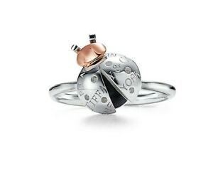 Tiffany & Co Ladybug Ring in 925 Sterling Silver and 18k Rose Gold - w/gift box