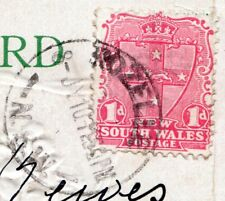 NSW 1d stamp, embossed postcard, postmarked ROZELLE NSW 8 July 1910 post to NZ