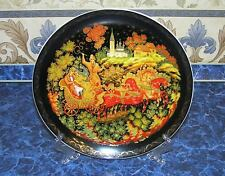 """RUSSIAN COLLECTABLE PORCELAIN BIG PLATE """"PALEKH"""" + STAND + ORIGINAL PACKAGING"""