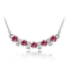 Fashion Womens Pink Crystal Rhinestone Silver Chain Pendant Necklace NEW ~!