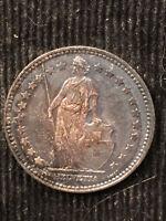 1876 Silver Switzerland Franc TONED CH UNC