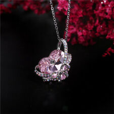Womens Heart Butterfly Pink Crystal Rhinestone Silver Chain Pendant Necklace !!!
