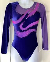 GK LgSlv ADULT SMALL PURPLE VELVET FOIL MESH JA GYMNASTICS DANCE LEOTARD AS NWT!