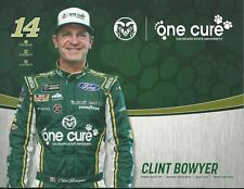 """2019 CLINT BOWYER """"ONE CURE FORD MUSTANG"""" #14 NASCAR MONSTER ENERGY POSTCARD"""