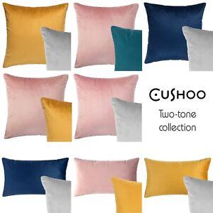 Reversible Velvet Cushion Navy Blue Grey Yellow Pink Cover Oblong UK 45cm 18in