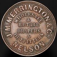 ND 1865-68 | New Zealand J.M. Merrington & Co. Nelson Penny Token | KM Coins