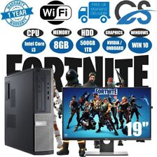 Fast Intel Core i3 Gaming PC+Monitor Bundle 8GB RAM 500GB HDD Fortnite Computer