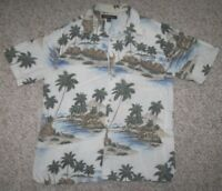 Croft & Barrow Hawaiian Pocket Dress Shirt Mens Off White Rayon Man Short Sleeve
