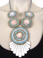 $48 Panacea Tribal Pink/Blue Multi Crystal Beaded Statement Macrame Bib Necklace