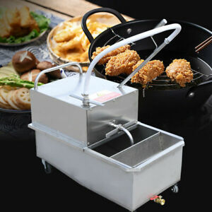 55L Fryer Oil Filter Machine Kitchen Oil Filter System Gravity Sedimentation