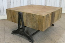 INDUSTRIAL STYLE COFFEE TABLE WITH RECLAIMED PINE TOP AND CAST IRON BASE