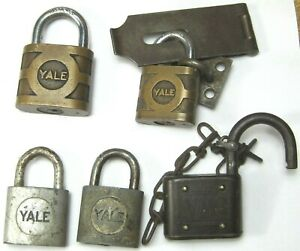 5 vintage & antique brass padlocks: (all YALE brand)