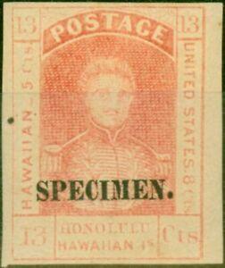 Hawaii 1861 13c Dull Red Specimen SG19s Ordin White Wove Paper Fine & Fresh L...