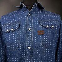 G-Star Raw Mens Western Pearl Snap Shirt MEDIUM Long Sleeve Blue SLIM FIT Cotton