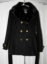 FOREVER 21 XS  S  black fall winter  coat fur double breasted
