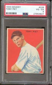 1933 Goudey Tony Piet #228 Pittsburgh Pirates PSA 4 SET BREAK VERY TOUGH !