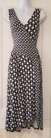 Womens Boden Blue White Contrast Asymmetric Wrap Style Stretch Midi Dress 8 Vgc