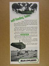 1950 Allis-Chalmers ROTO-BALER cattle eating hay bales vintage print Ad