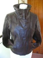 Ladies NEXT brown real leather JACKET COAT size UK 18 biker bomber blue lining