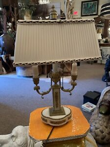 Vintage neo classical French to arm candelabra lamp Marble Bronze Brass