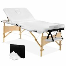 Wooden Portable Massage Table 3 Fold Beauty Therapy Bed Chair Waxing 70cm WHITE