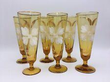 """Vintage Champagne Flute Amber Glasses Art Nouveau Handblown Hand Painted Gold 7"""""""