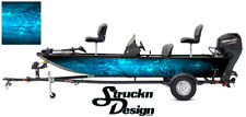 Graphic Pontoon Blue Wrap Musky Fishing Bass Boat Abstract Fish Decal US Vinyl