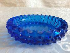 Fenton Cobalt Blue Glass Hobnail Crimped Edge Dish Ashtray