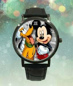 Mickey Mouse & Pluto Custom Leather Band Mens Watch