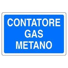 Cartello in alluminio bianco Contatore gas metano 30x20 cm