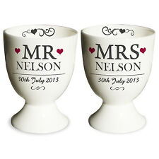 PERSONALISED MR & MRS EGG CUP SET UNIQUE FUNKY WEDDING ANNIVERSARY GIFT IDEA
