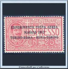 1917 Italia Regno Posta Aerea Espresso soprast. c. 25 n. 1 Centrato Integro **