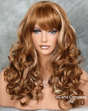 BOUNCY LONG WAVY Curly BLONDE mix WIG with bangs JSCA 27-613
