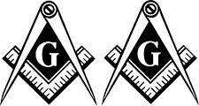 WHITE Vinyl Decal Masonic Emblem Tail light  2 pieces