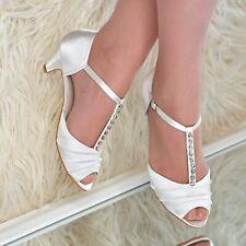 Womens Satin Low Kitten Heel Shoes Rhinestone T-strap Peep toe Bridal Sandals