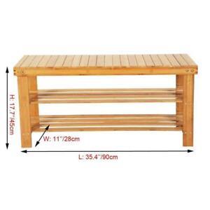 100% Natural Bamboo Shoe Bench 2-Tier Shoe Rack Organizer Entryway Storage Shelf