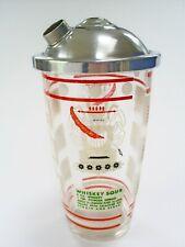 1950s VINTAGE RETRO HAZEL ATLAS/USA GLASS & CHROME COCKTAIL SHAKER/8 RECIPES