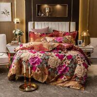 Vintage  Flowers Duvet Cover Set Brushed Cotton Warm Bedding Set Cover Bed Sheet