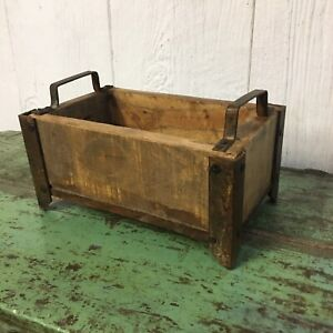Rustic Primitive Farmhouse Decor Vintage Wooden Box On Stand W/ Iron Corners