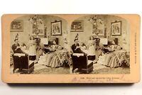 Vita Famille Interno Piano Musica 1897 Foto Stereo Vintage Albumina