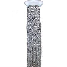 Old Navy Knit Tube Dress Size Womens Strapless Geo Black Print
