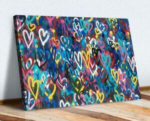 LOVE WALL HEARTS GRAFFITI CANVAS WALL ART PRINT STREET ARTWORK PICTURE BANKSY
