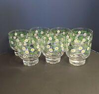 Seven Vintage Culver LTD Daisy/ Flower Old Fashion/Rock Glasses - Footed Barware